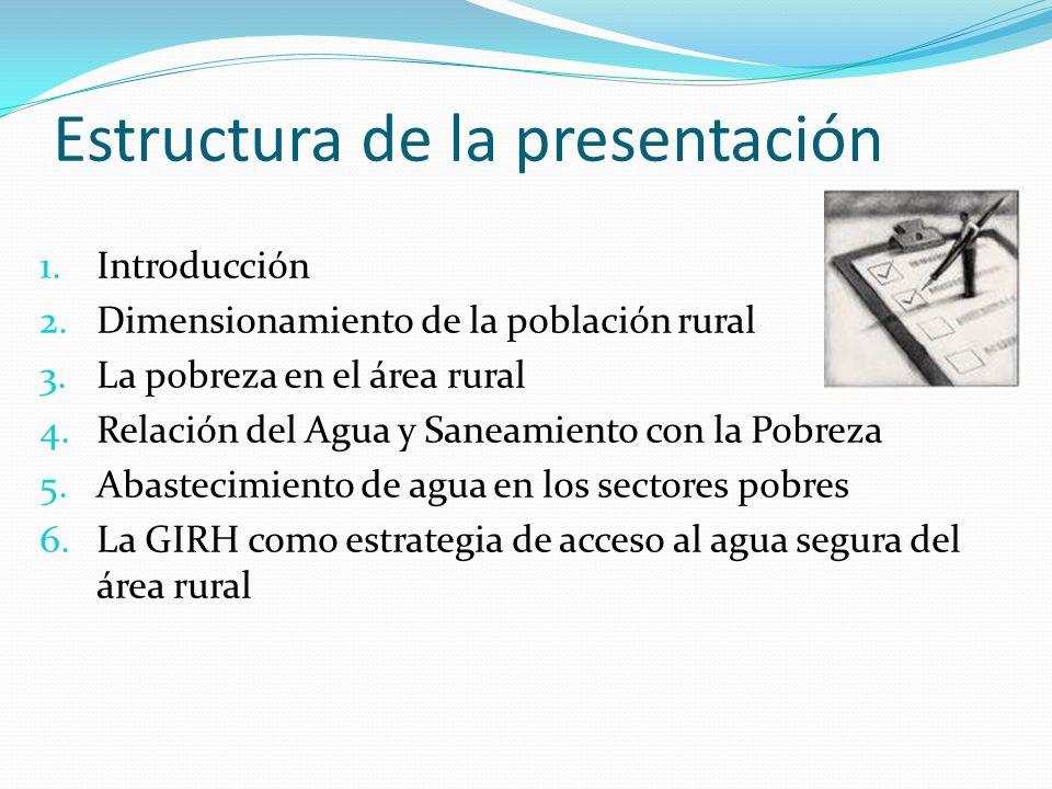 Estructura de la presentación 1.Introducción 2.Dimensionamiento de la población rural 3.La pobreza en el área rural 4.Relación del Agua y Saneamiento