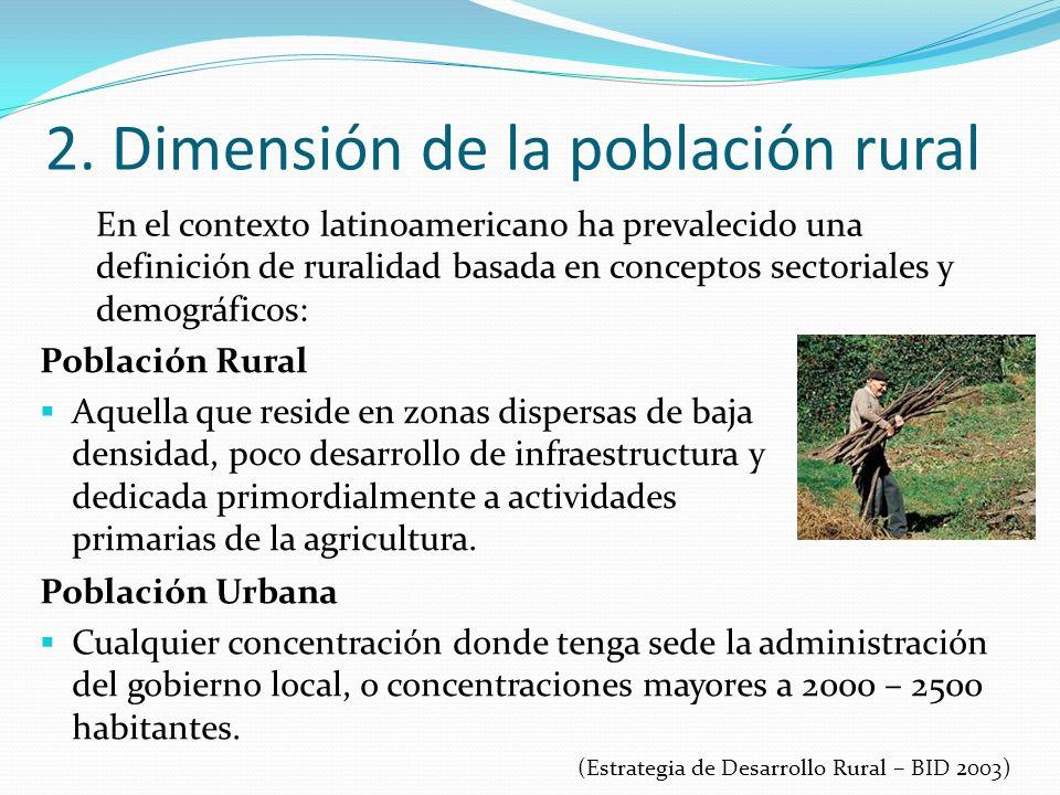 2. Dimensión de la población rural En el contexto latinoamericano ha prevalecido una definición de ruralidad basada en conceptos sectoriales y demográ