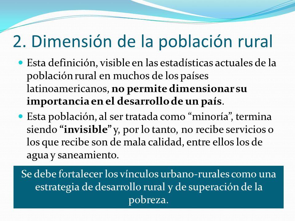 2. Dimensión de la población rural Esta definición, visible en las estadísticas actuales de la población rural en muchos de los países latinoamericano