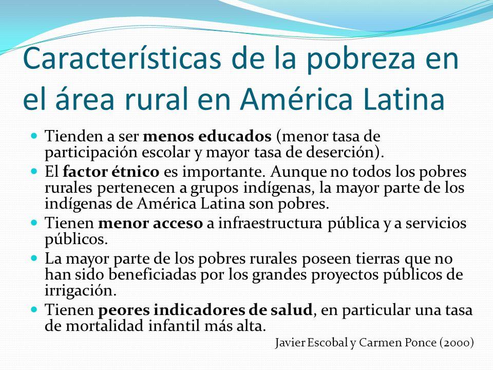 Características de la pobreza en el área rural en América Latina Tienden a ser menos educados (menor tasa de participación escolar y mayor tasa de des