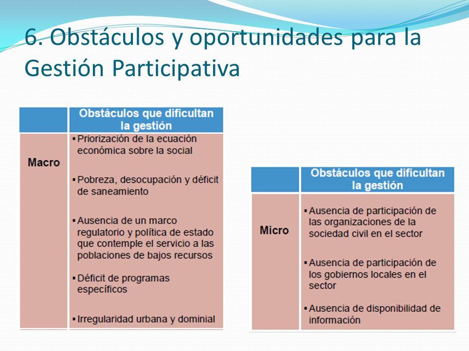 6. Obstáculos y oportunidades para la Gestión Participativa