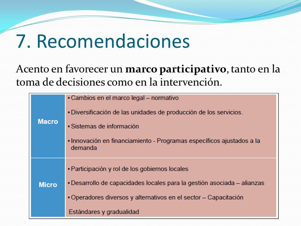 7. Recomendaciones Acento en favorecer un marco participativo, tanto en la toma de decisiones como en la intervención.
