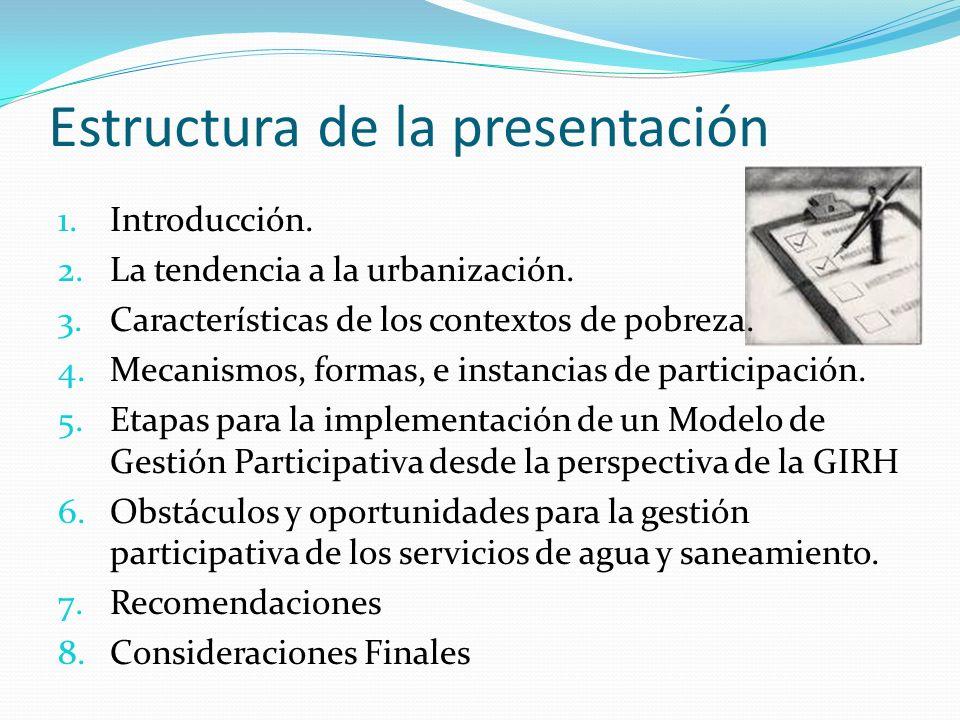 Estructura de la presentación 1.Introducción. 2.La tendencia a la urbanización. 3.Características de los contextos de pobreza. 4.Mecanismos, formas, e