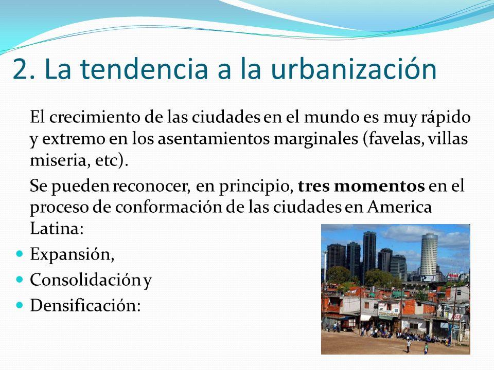 2. La tendencia a la urbanización El crecimiento de las ciudades en el mundo es muy rápido y extremo en los asentamientos marginales (favelas, villas