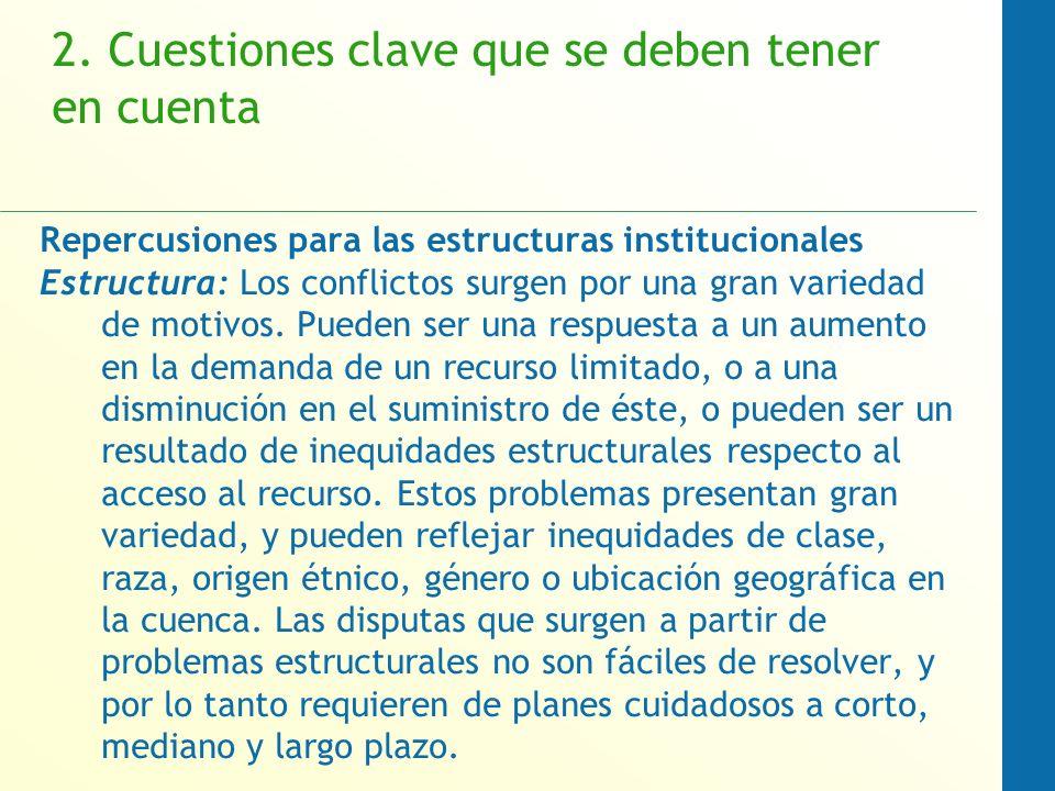 2. Cuestiones clave que se deben tener en cuenta Repercusiones para las estructuras institucionales Estructura: Los conflictos surgen por una gran var