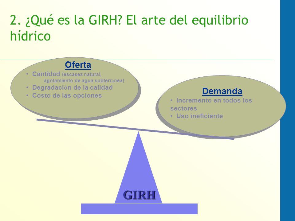 2. ¿Qué es la GIRH? El arte del equilibrio hídrico Demanda Incremento en todos los sectores Uso ineficiente Oferta Cantidad (escasez natural, agotamie