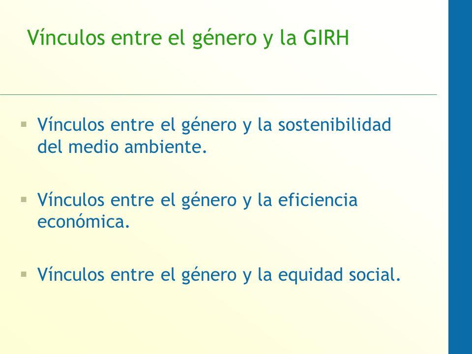 Vínculos entre el género y la GIRH Vínculos entre el género y la sostenibilidad del medio ambiente. Vínculos entre el género y la eficiencia económica