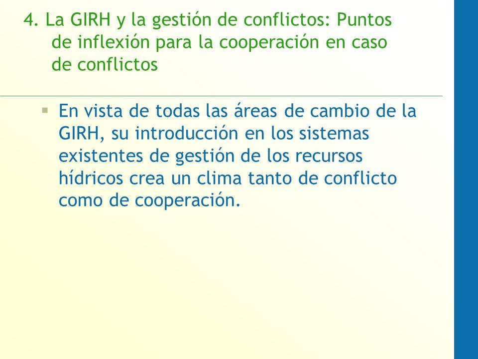 4. La GIRH y la gestión de conflictos: Puntos de inflexión para la cooperación en caso de conflictos En vista de todas las áreas de cambio de la GIRH,