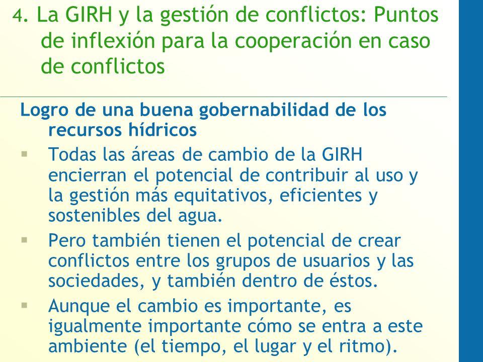 4. La GIRH y la gestión de conflictos: Puntos de inflexión para la cooperación en caso de conflictos Logro de una buena gobernabilidad de los recursos