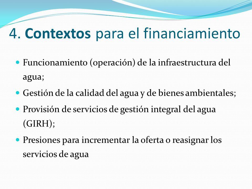 4. Contextos para el financiamiento Funcionamiento (operación) de la infraestructura del agua; Gestión de la calidad del agua y de bienes ambientales;