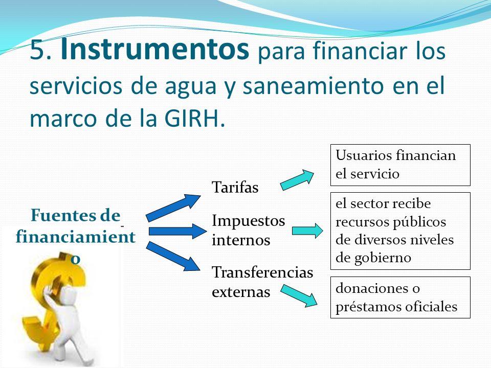 5. Instrumentos para financiar los servicios de agua y saneamiento en el marco de la GIRH.