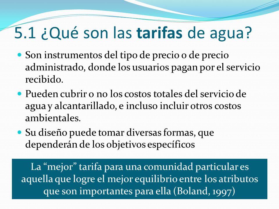 5.1 ¿Qué son las tarifas de agua.