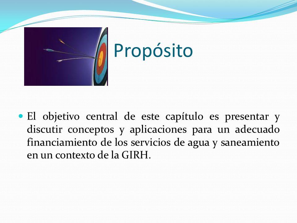 El objetivo central de este capítulo es presentar y discutir conceptos y aplicaciones para un adecuado financiamiento de los servicios de agua y saneamiento en un contexto de la GIRH.