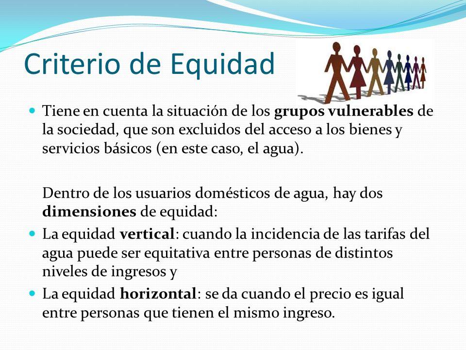 Criterio de Equidad Tiene en cuenta la situación de los grupos vulnerables de la sociedad, que son excluidos del acceso a los bienes y servicios básicos (en este caso, el agua).