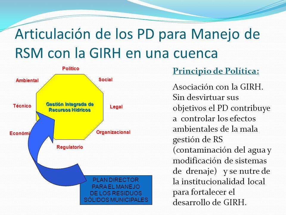 PLAN DIRECTOR PARA EL MANEJO DE LOS RESIDUOS SÓLIDOS MUNICIPALES Principio de Política: Asociación con la GIRH. Sin desvirtuar sus objetivos el PD con