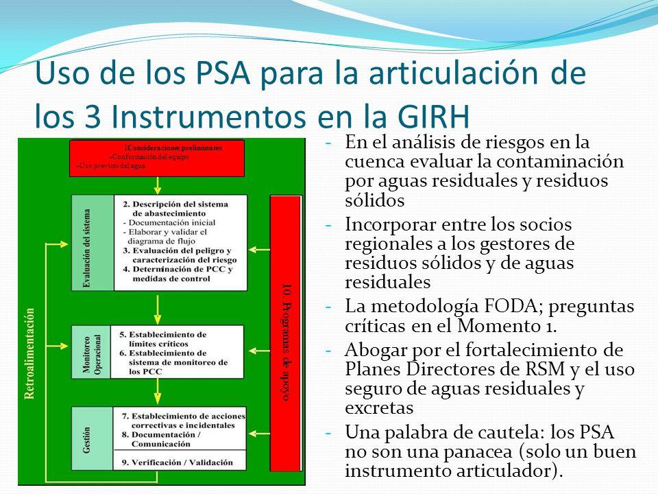 Uso de los PSA para la articulación de los 3 Instrumentos en la GIRH - En el análisis de riesgos en la cuenca evaluar la contaminación por aguas resid