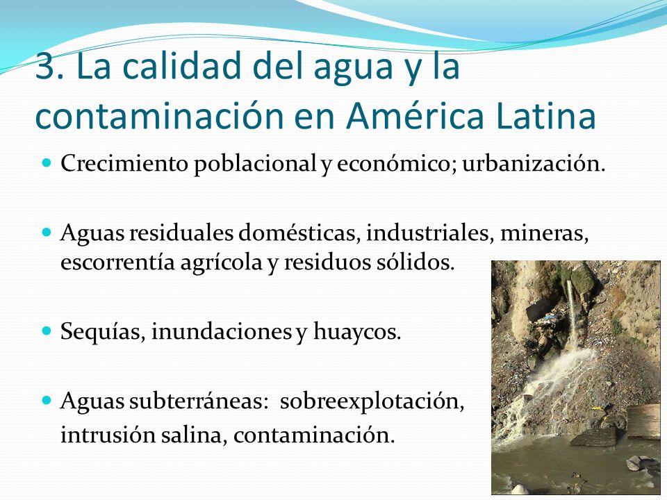 Crecimiento poblacional y económico; urbanización. Aguas residuales domésticas, industriales, mineras, escorrentía agrícola y residuos sólidos. Sequía