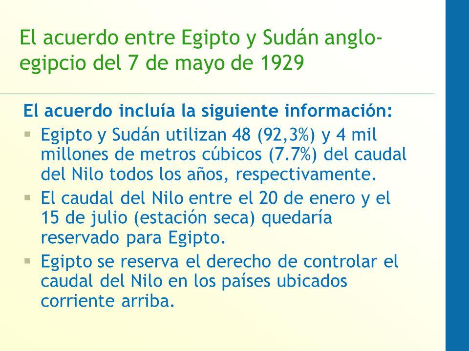 El acuerdo entre Egipto y Sudán anglo- egipcio del 7 de mayo de 1929 El acuerdo incluía la siguiente información: Egipto y Sudán utilizan 48 (92,3%) y 4 mil millones de metros cúbicos (7.7%) del caudal del Nilo todos los años, respectivamente.