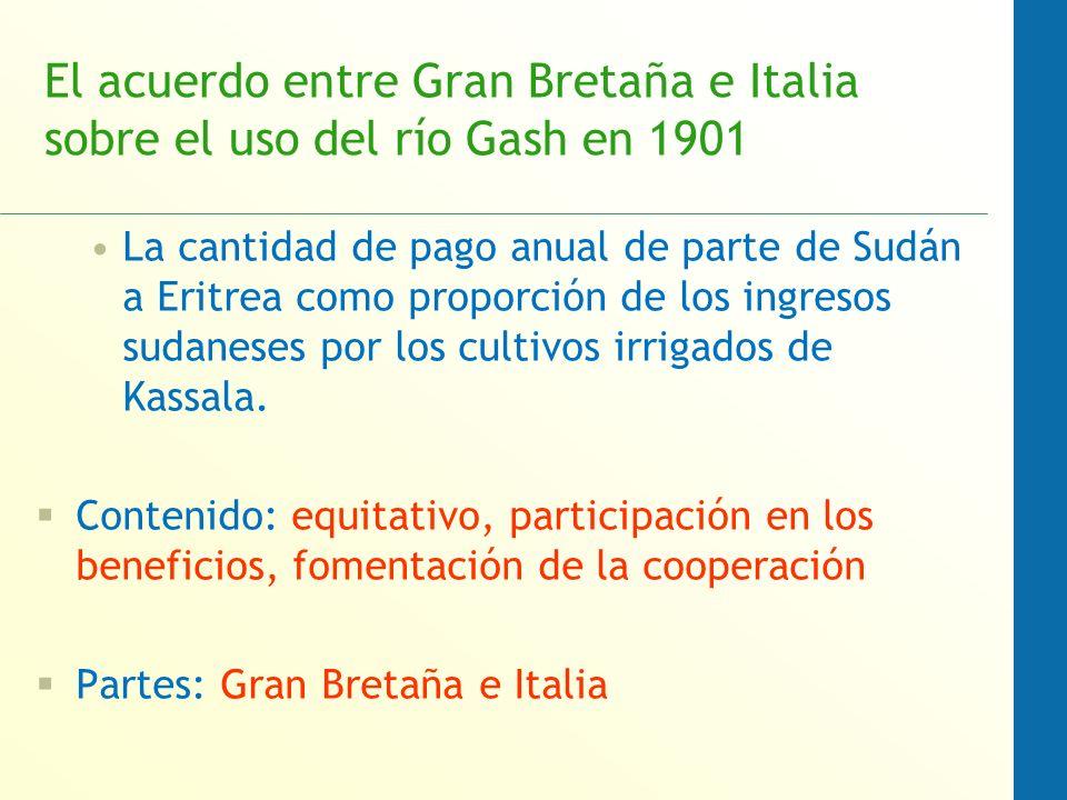 El acuerdo entre Gran Bretaña e Italia sobre el uso del río Gash en 1901 La cantidad de pago anual de parte de Sudán a Eritrea como proporción de los ingresos sudaneses por los cultivos irrigados de Kassala.