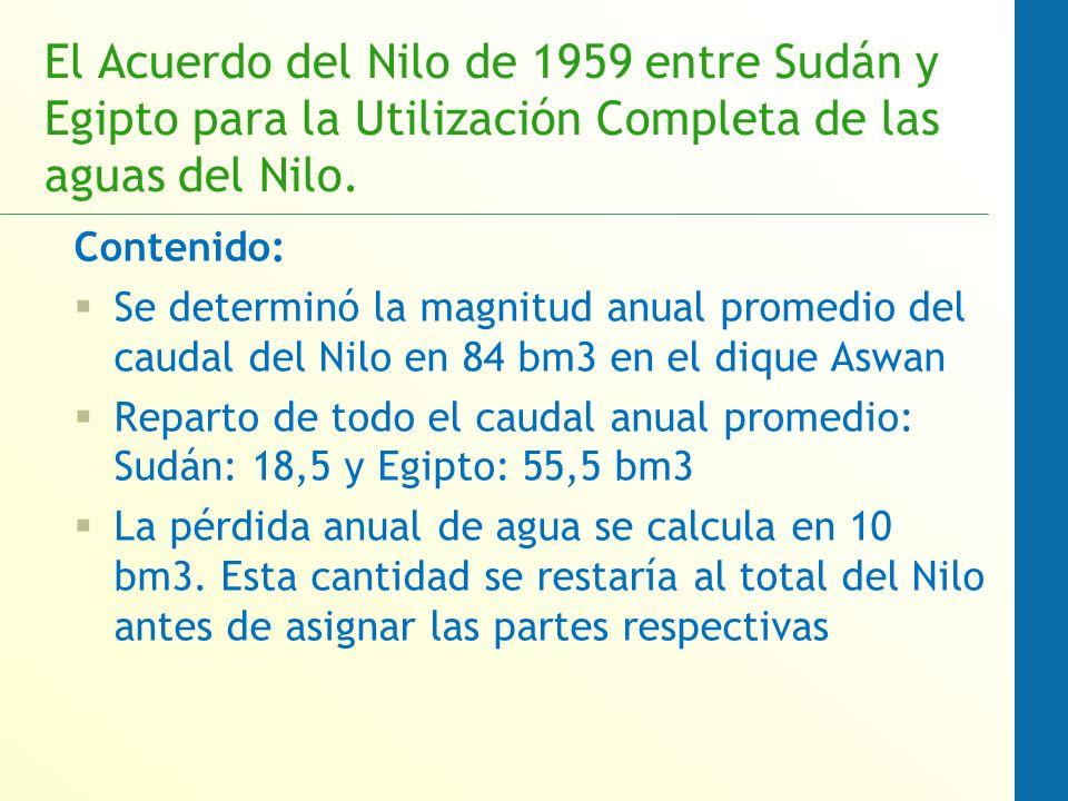 El Acuerdo del Nilo de 1959 entre Sudán y Egipto para la Utilización Completa de las aguas del Nilo.