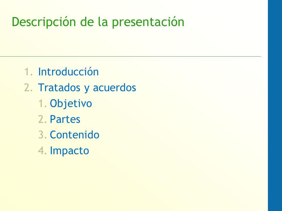 Descripción de la presentación 1.Introducción 2.Tratados y acuerdos 1.Objetivo 2.Partes 3.Contenido 4.Impacto