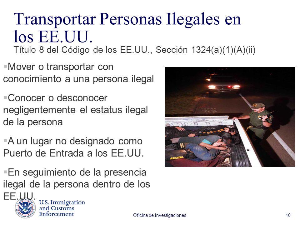 Oficina de Investigaciones 10 Transportar Personas Ilegales en los EE.UU. Título 8 del Código de los EE.UU., Sección 1324(a)(1)(A)(ii) Mover o transpo