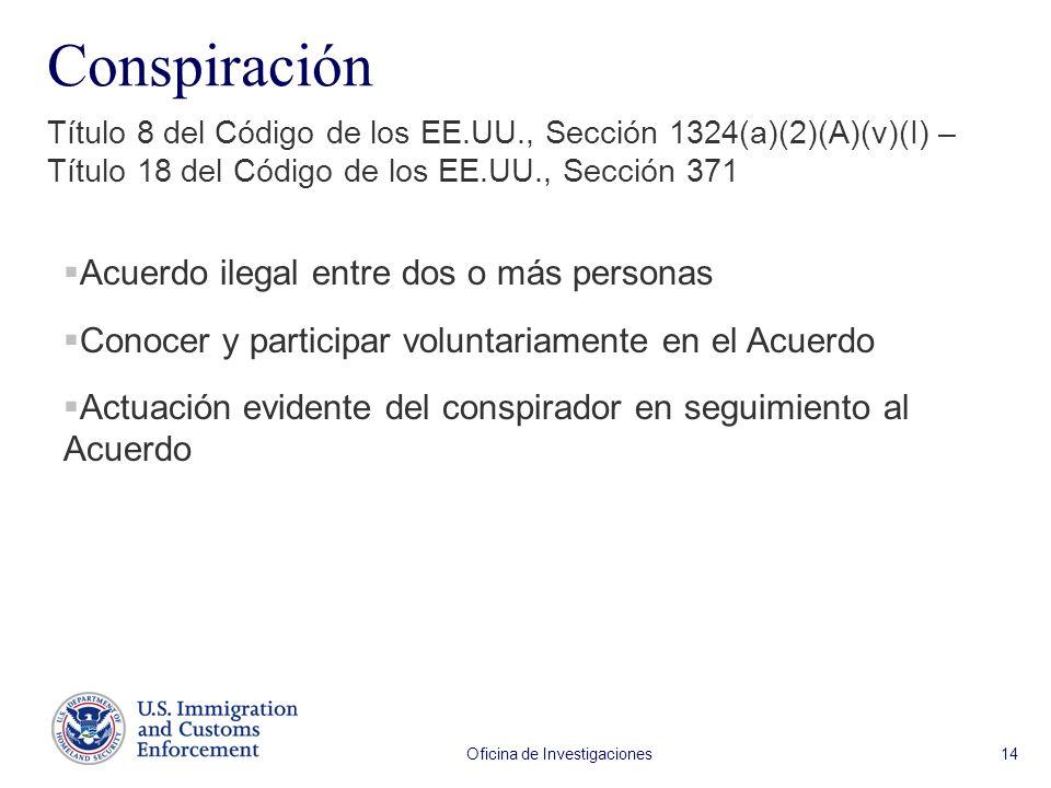 Oficina de Investigaciones 14 Conspiración Título 8 del Código de los EE.UU., Sección 1324(a)(2)(A)(v)(I) – Título 18 del Código de los EE.UU., Sección 371 Acuerdo ilegal entre dos o más personas Conocer y participar voluntariamente en el Acuerdo Actuación evidente del conspirador en seguimiento al Acuerdo