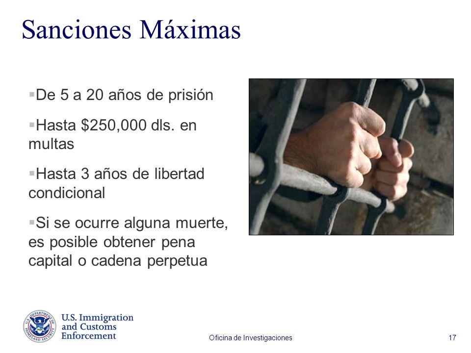Oficina de Investigaciones 17 Sanciones Máximas De 5 a 20 años de prisión Hasta $250,000 dls. en multas Hasta 3 años de libertad condicional Si se ocu