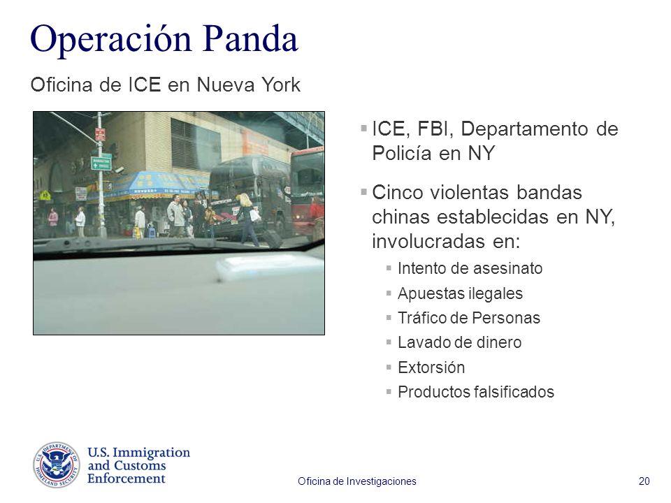 Oficina de Investigaciones 20 Operación Panda Oficina de ICE en Nueva York ICE, FBI, Departamento de Policía en NY Cinco violentas bandas chinas establecidas en NY, involucradas en: Intento de asesinato Apuestas ilegales Tráfico de Personas Lavado de dinero Extorsión Productos falsificados