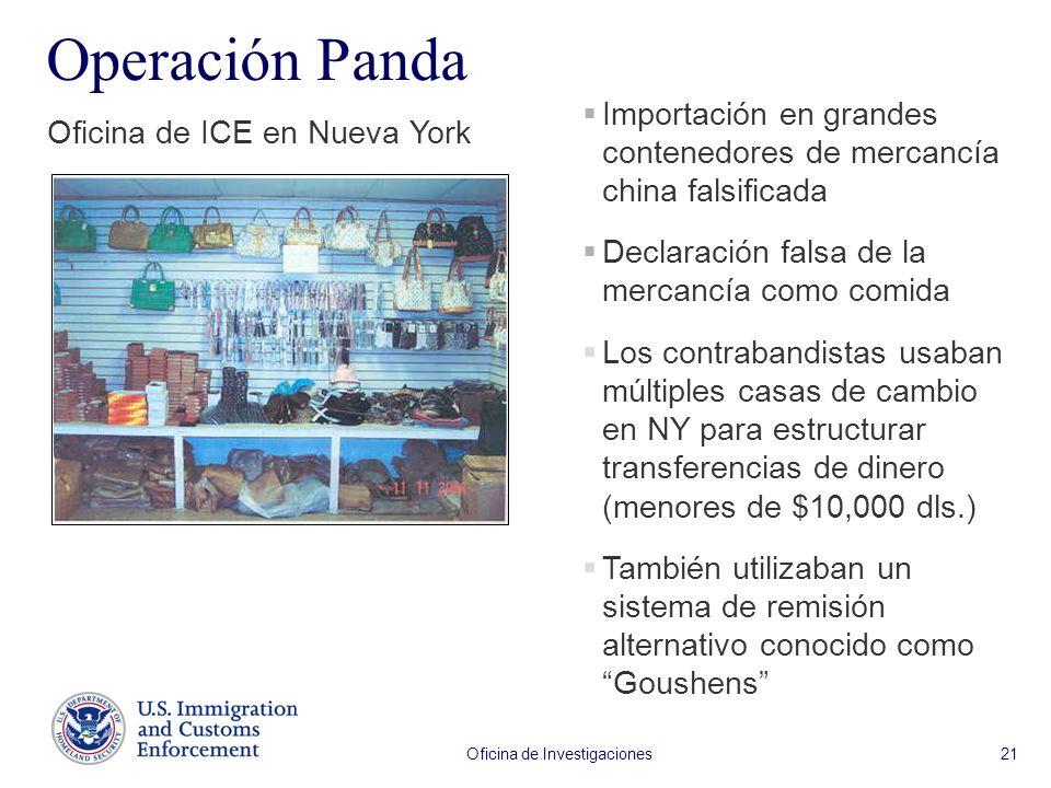 Oficina de Investigaciones 21 Operación Panda Oficina de ICE en Nueva York Importación en grandes contenedores de mercancía china falsificada Declarac