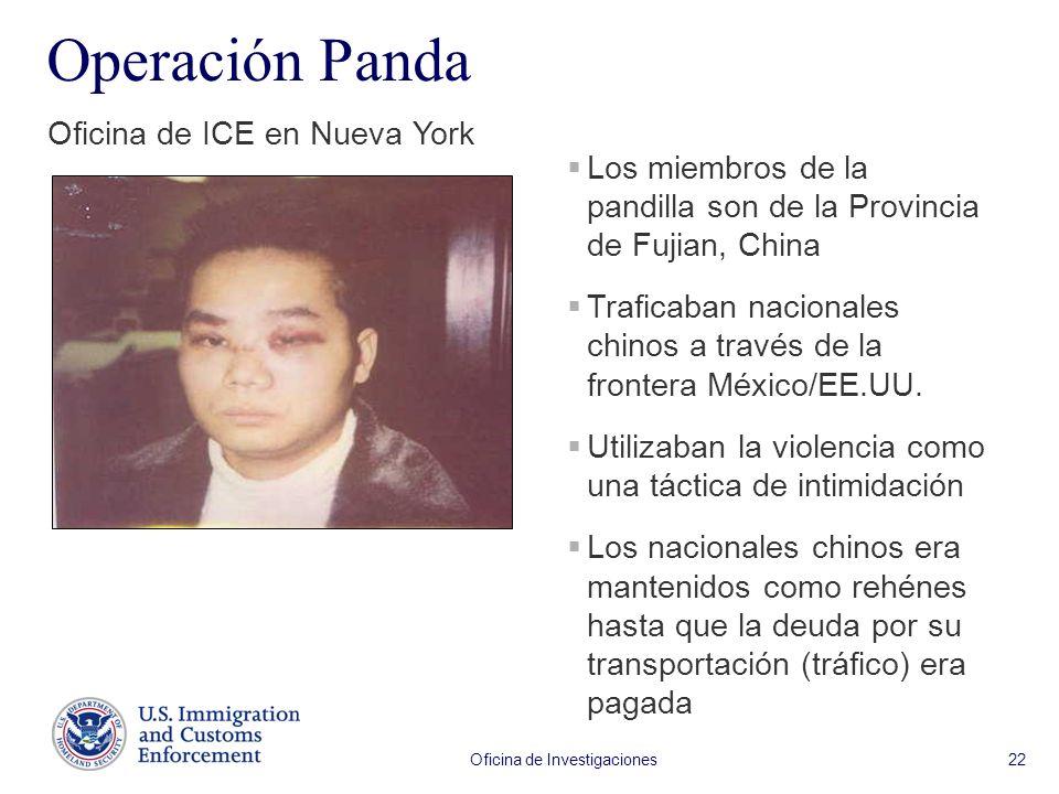 Oficina de Investigaciones 22 Operación Panda Oficina de ICE en Nueva York Los miembros de la pandilla son de la Provincia de Fujian, China Traficaban nacionales chinos a través de la frontera México/EE.UU.