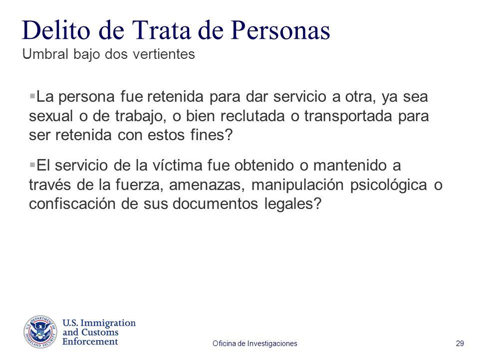 Oficina de Investigaciones 29 La persona fue retenida para dar servicio a otra, ya sea sexual o de trabajo, o bien reclutada o transportada para ser retenida con estos fines.