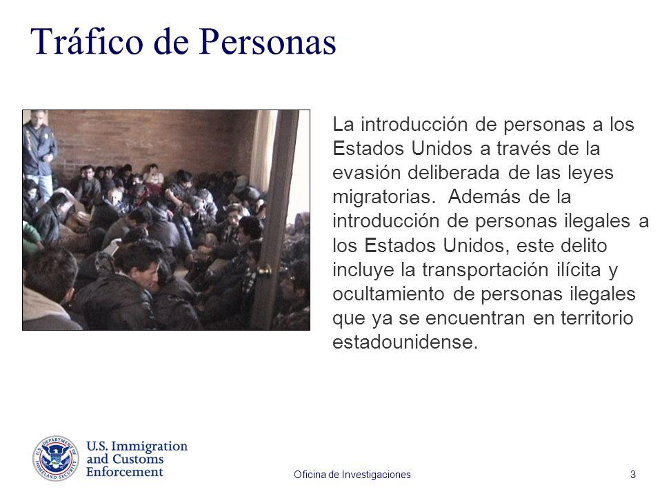 Oficina de Investigaciones 3 Tráfico de Personas La introducción de personas a los Estados Unidos a través de la evasión deliberada de las leyes migratorias.