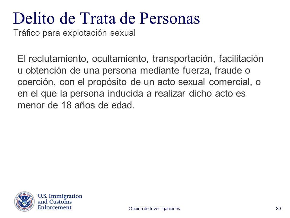Oficina de Investigaciones 30 El reclutamiento, ocultamiento, transportación, facilitación u obtención de una persona mediante fuerza, fraude o coerci