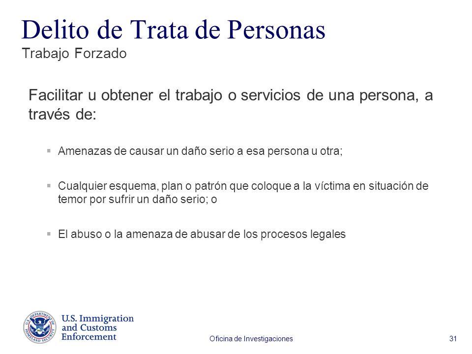 Oficina de Investigaciones 31 Facilitar u obtener el trabajo o servicios de una persona, a través de: Amenazas de causar un daño serio a esa persona u