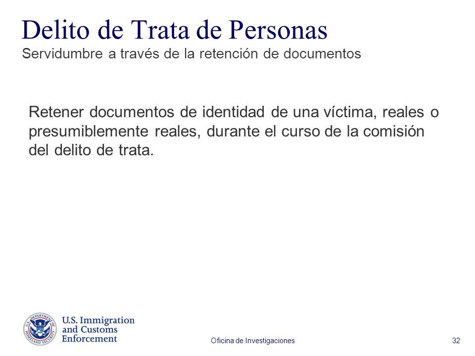 Oficina de Investigaciones 32 Retener documentos de identidad de una víctima, reales o presumiblemente reales, durante el curso de la comisión del delito de trata.