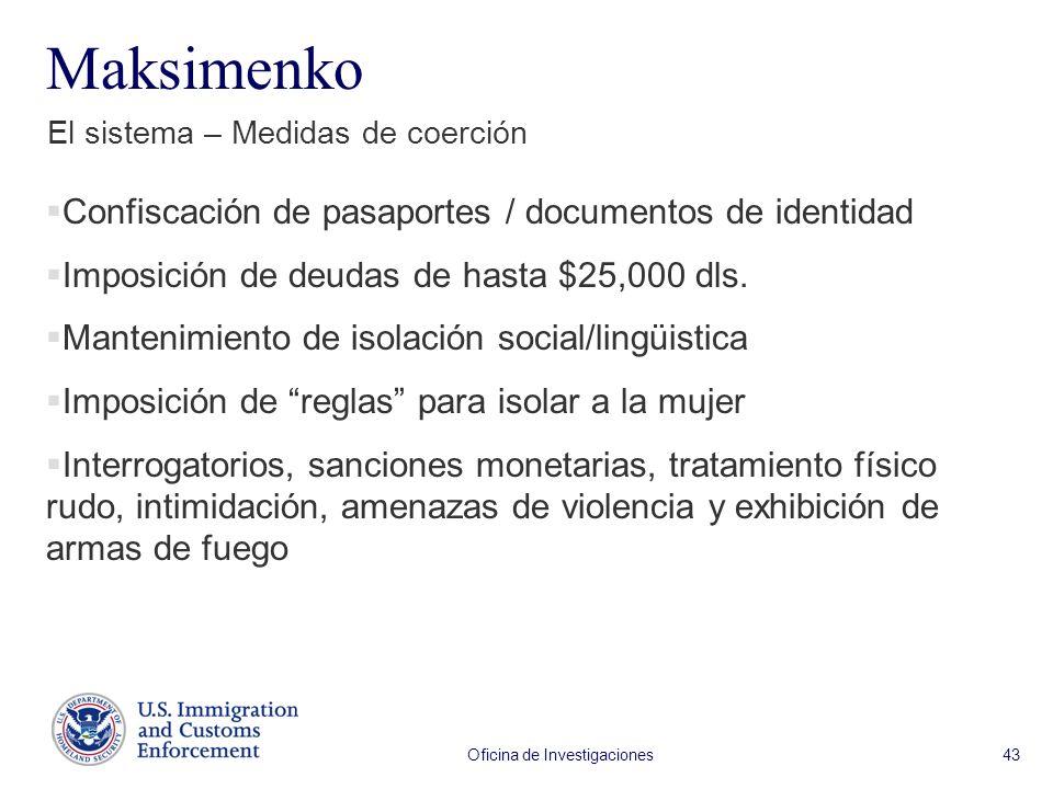 Oficina de Investigaciones 43 Maksimenko El sistema – Medidas de coerción Confiscación de pasaportes / documentos de identidad Imposición de deudas de hasta $25,000 dls.