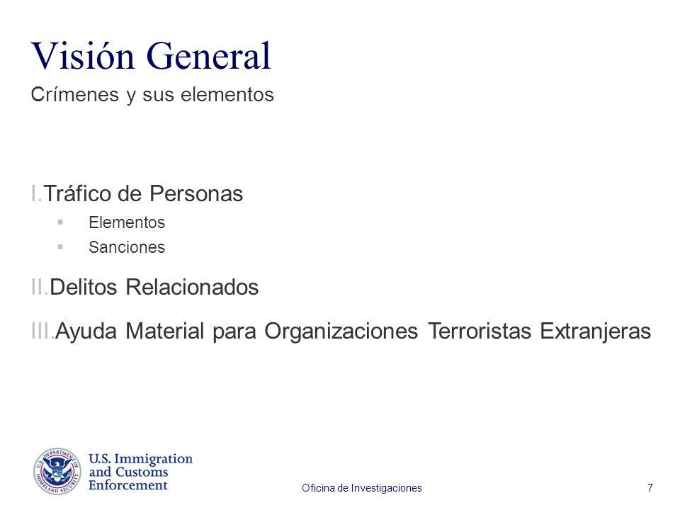 Oficina de Investigaciones 7 Visión General Crímenes y sus elementos I.Tráfico de Personas Elementos Sanciones II.Delitos Relacionados III.Ayuda Material para Organizaciones Terroristas Extranjeras