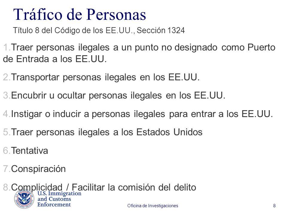 Oficina de Investigaciones 8 Tráfico de Personas Título 8 del Código de los EE.UU., Sección 1324 1.Traer personas ilegales a un punto no designado com