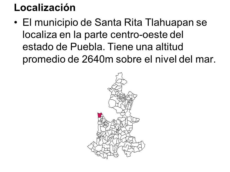 Localización El municipio de Santa Rita Tlahuapan se localiza en la parte centro-oeste del estado de Puebla. Tiene una altitud promedio de 2640m sobre