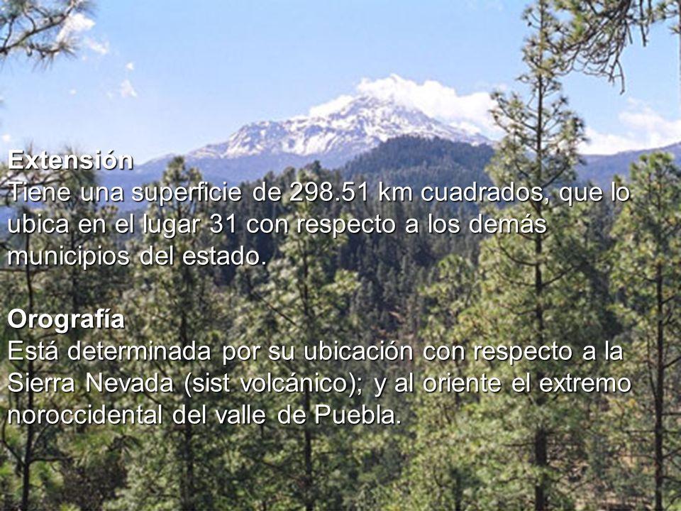 Extensión Tiene una superficie de 298.51 km cuadrados, que lo ubica en el lugar 31 con respecto a los demás municipios del estado. Orografía Está dete