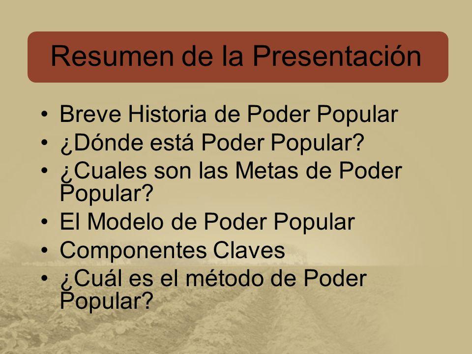 Breve Historia de Poder Popular ¿Dónde está Poder Popular.