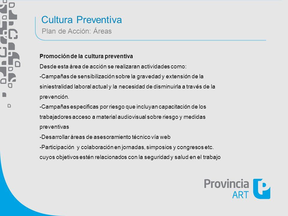 Cultura Preventiva Plan de Acción: Áreas Promoción de la cultura preventiva Desde esta área de acción se realizaran actividades como: -Campañas de sen