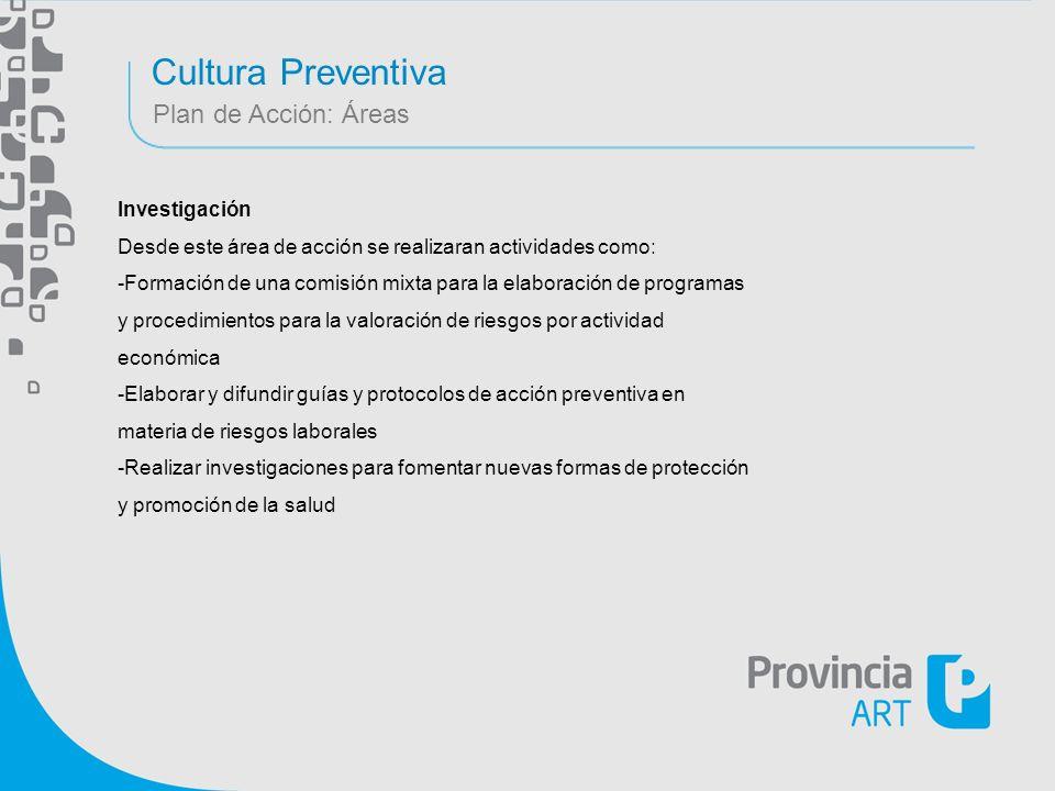Cultura Preventiva Plan de Acción: Áreas Investigación Desde este área de acción se realizaran actividades como: -Formación de una comisión mixta para