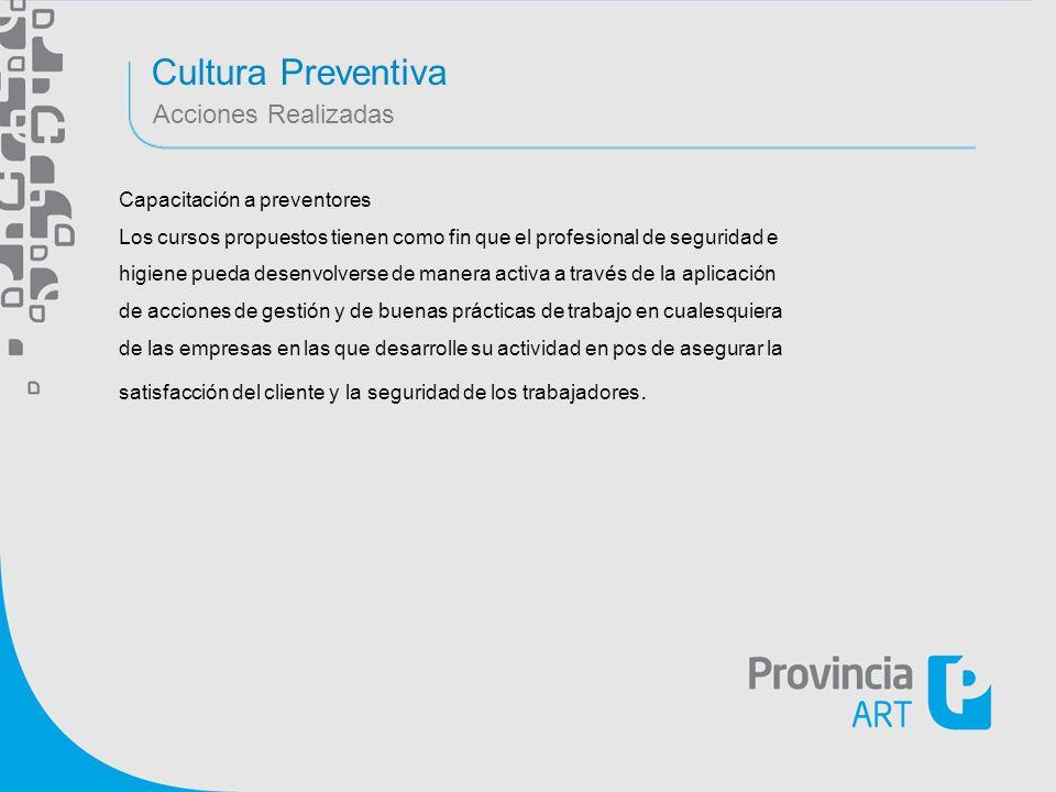 Cultura Preventiva Acciones Realizadas Capacitación a preventores Los cursos propuestos tienen como fin que el profesional de seguridad e higiene pued