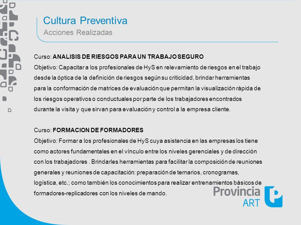 Cultura Preventiva Acciones Realizadas Curso: ANALISIS DE RIESGOS PARA UN TRABAJO SEGURO Objetivo: Capacitar a los profesionales de HyS en relevamient
