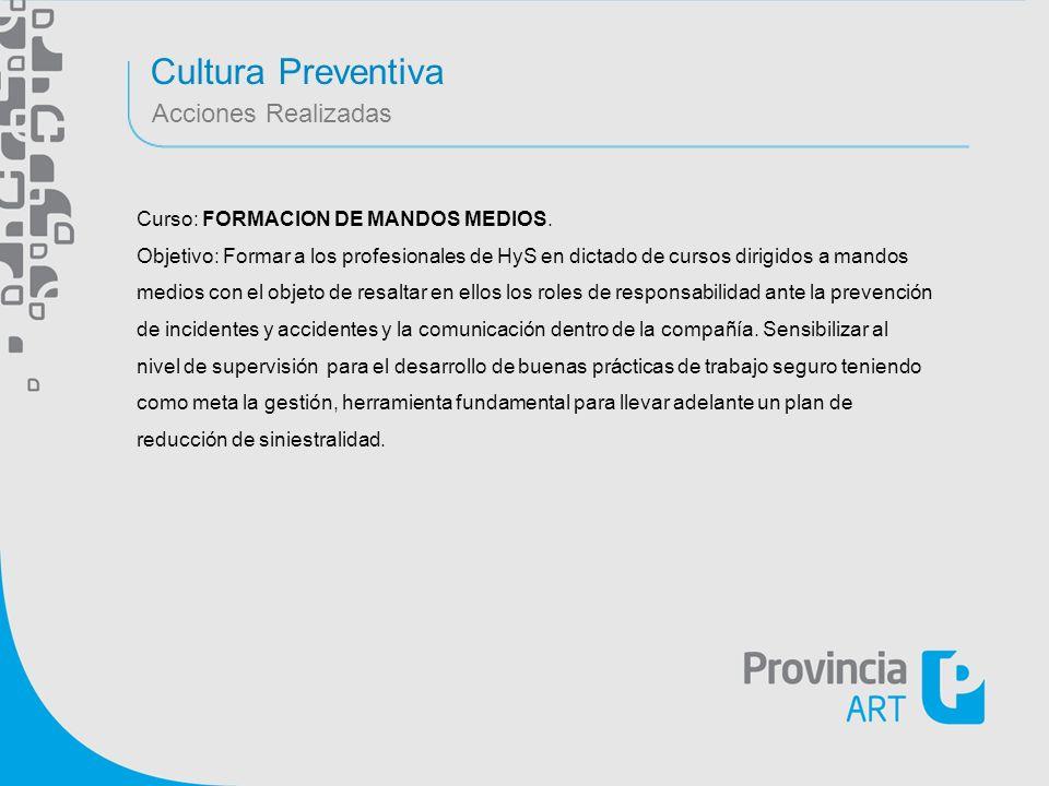 Cultura Preventiva Acciones Realizadas Curso: FORMACION DE MANDOS MEDIOS. Objetivo: Formar a los profesionales de HyS en dictado de cursos dirigidos a