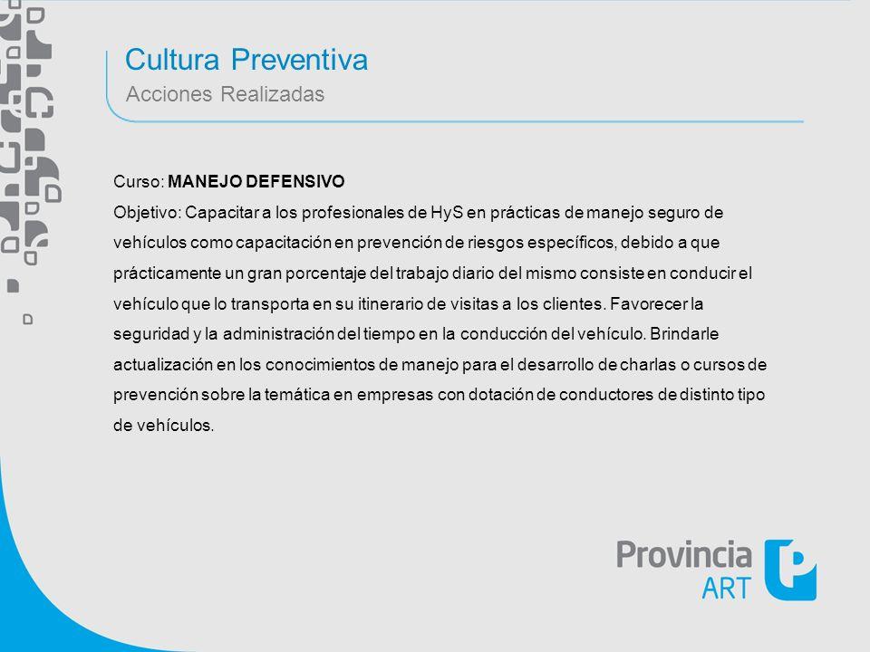 Cultura Preventiva Acciones Realizadas Curso: MANEJO DEFENSIVO Objetivo: Capacitar a los profesionales de HyS en prácticas de manejo seguro de vehícul