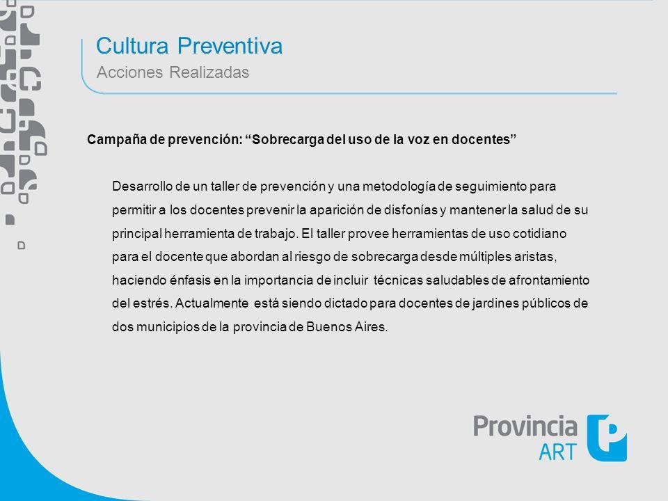 Cultura Preventiva Acciones Realizadas Campaña de prevención: Sobrecarga del uso de la voz en docentes Desarrollo de un taller de prevención y una met