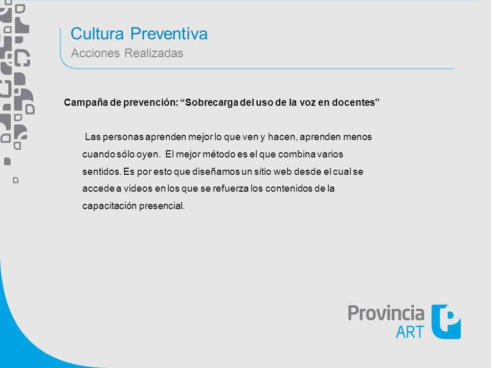 Cultura Preventiva Acciones Realizadas Campaña de prevención: Sobrecarga del uso de la voz en docentes Las personas aprenden mejor lo que ven y hacen,